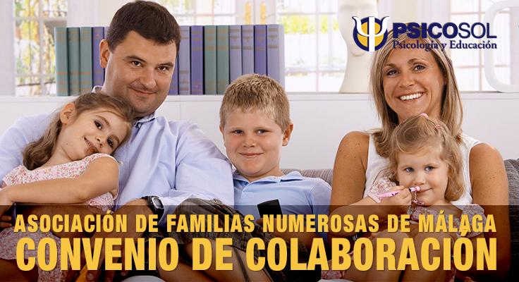 Psicosol, Psicología y Educación y la Asociación de Familias Numerosas de Málaga firman un Convenio de colaboración.