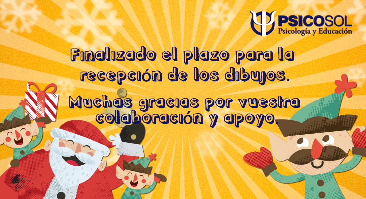 Se da por finalizado el plazo para la recepción de los dibujos para el concurso solidario de tarjetas de felicitación de Psicosol. Muchas gracias por vuestra colaboración y apoyo.
